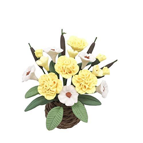 YOPDNE Mini jardín balcón Sala de Estar decoración Flor Miniatura Flor de Clavel Amarilla y Blanca