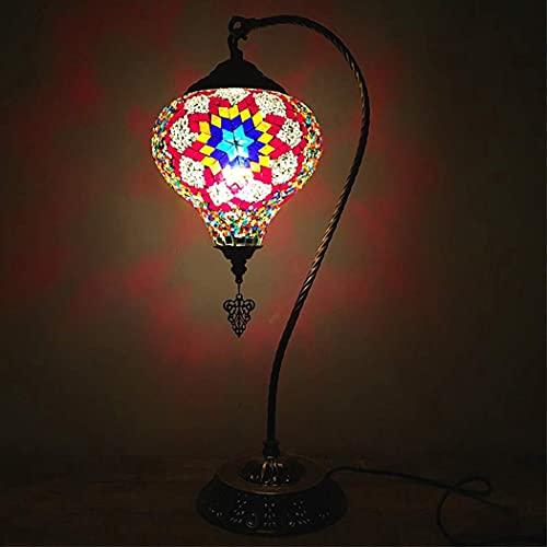 (6 colores) lámpara de mesa turca de mosaico de cristal hecha a mano con cuello de cisne de luz de escritorio de estilo marroquí Tiffany con base de bronce para dormitorio cafetería, 7 pulgadas, A