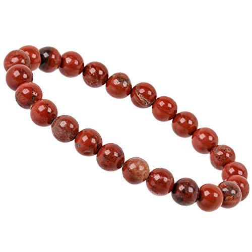 ELEDORO PowerBead Damen-Armband Stretch aus Edelstein Perlen 8 mm 17-18 cm mit Jaspis rot