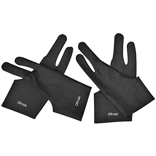 OTraki Artist Glove Anti-fouling Digital Draw Glove 4 Pack High-elastic Lycra Fiber Two Finger Gloves Free Size for Graphics Drawing, Tablet, iPad and Art Creation for Right Hand or Left Hand