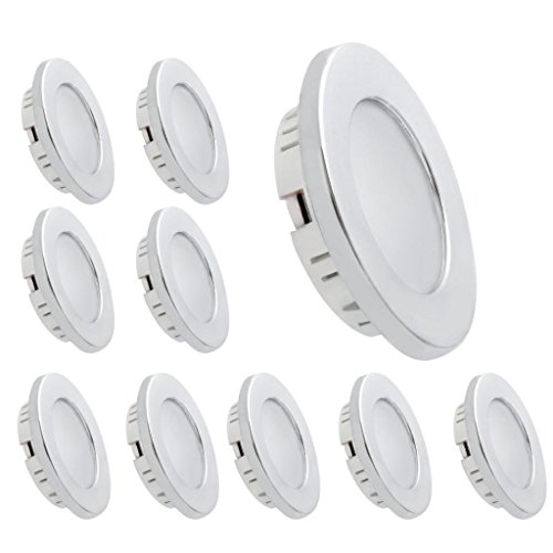 Dream Lighting LED 12volt DC Recessed Ceiling Light for RV Caravan Boat Cabin Kitchen, Warm White, Chrome Plated, Pack of 10