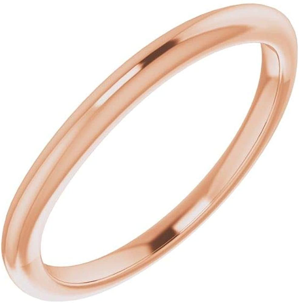 Solid 10K Rose Gold Curved Notched Wedding Band for 4.1mm Round Ring Guard Enhancer - Size 7