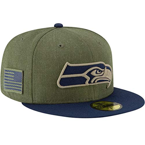 New Era Seattle Seahawks On Field 18 Salute to Service Cap 59fifty 5950 Fitted Limited Edition, Green, 7 3/8 - 59cm (L)