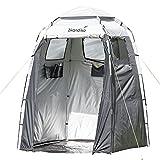 Skandika Camping Duschzelt | großes Umkleidezelt mit 230 cm Stehhöhe, silberbeschichtet, Blickdicht, separater Boden, 3 abdeckbare Fenster, Handtuchhalterung, Duschbefestigung | Toilettenzelt