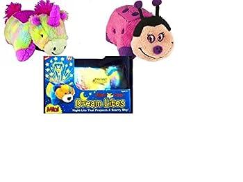Pillow Pets Dream Lites Mini - Rainbow Unicorn & Pillow Pets Dream Lites Mini - Hot Pink Ladybug  2 pack