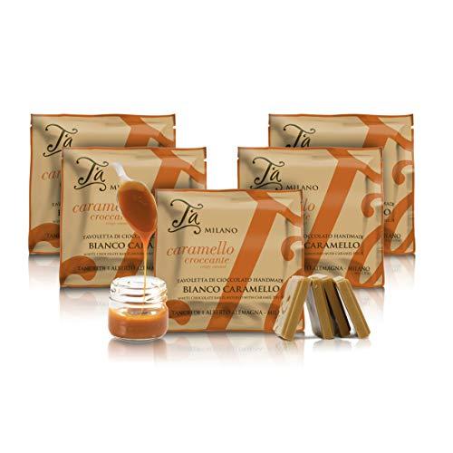 Tavoletta di Cioccolato Bianco con croccanti Pezzi di Caramello - 50g (Confezione da 5 Pezzi)