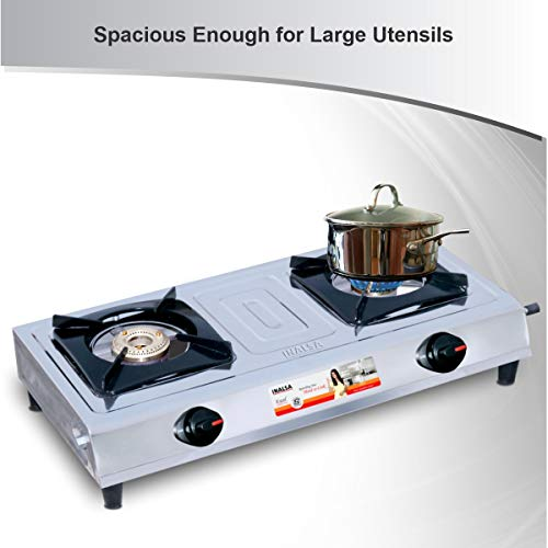 Inalsa Excel Stainless Steel 2 Burner Gas Stove, Manual Ignition, Silver/Black