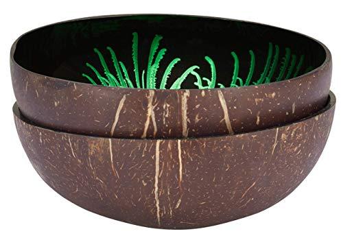 cocovibes 2er-Set Coconut Bowl, Kokosnuss Schale, Deko Schüssel, handgemacht, lackiert Splash grün