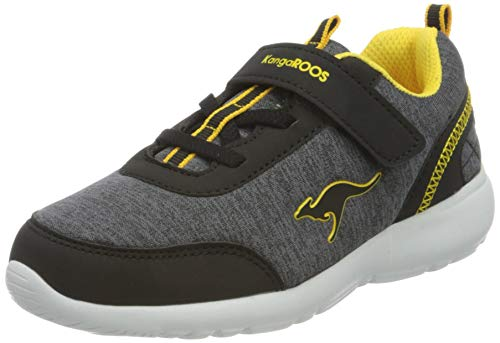 KangaROOS Unisex Baby KY-Citylite EV Sneaker, Jet Black/Sun Yellow