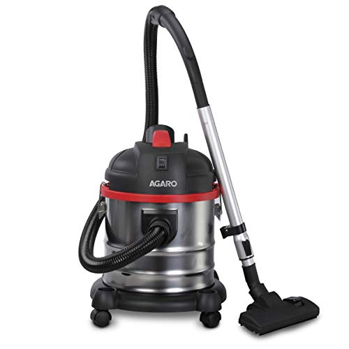 AGARO Ace 1600-Watts, 21.5 kPa Suction Power, 21 litres Wet & Dry Stainless Steel Vacuum Cleaner with Blower Function and Washable dust Bag