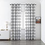 GIRASOLE Par de cortinas semitransparentes, diseño de cuadros, cortina para salón y dormitorio, 2 paneles con ojales (gris, 140 x 290 cm)