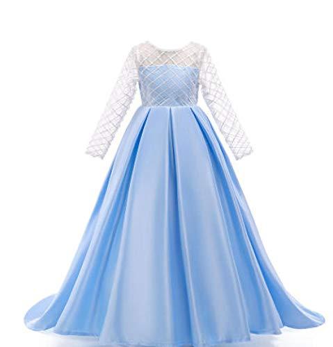 Haute Couture Kleid Mädchen Karierte Spitze Hochzeitskleid Schleppen Langer Rock Blumenmädchen Brautjungfer Party, Hellblau_7-8_Jahre