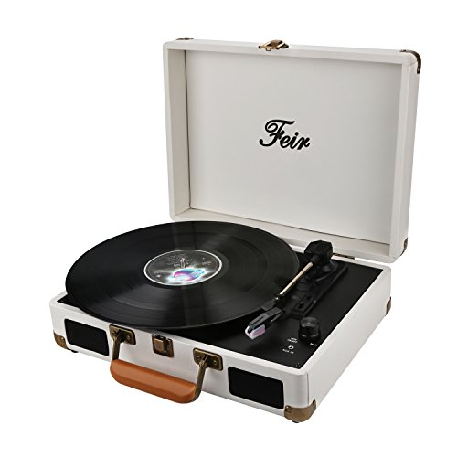 Vinyl Stereo White Record Player 3 Speed Portable Turntable Suitcase Built in 2 Speakers RCA Line Out AUX Headphone Jack...
