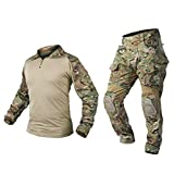 IDOGEAR Men G3 Assault Combat Uniform Set with Knee Pads Multicam Camouflage Tactical Airsoft Hunting Paintball Gear (A:Multicam, X-Large)