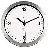 PROMO SHOP Gran Reloj de Pared Carcasa de Aluminio Cepillado Strongman · Mecanismo Silencioso 'Sweep' · Reloj Cocina Pared con 4 Números · Incluye Caja de Regalo Individual y Pila