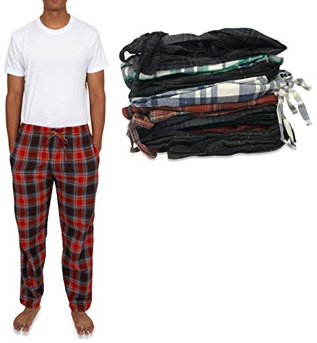 Andrew Scott Men's 4 Pack 100% Cotton Flannel Pajama Sleep Pant - Lounge Pants (4 Pack- Assorted Classic Plaids, XX-Large)