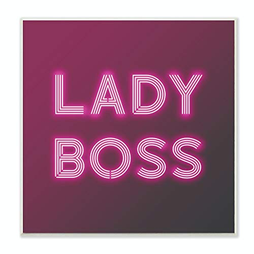 Stupell Industries Neon Lady Boss Fashion Modern Pink Word Design Wall Plaque, 12 x 12, Multi-Color