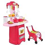 Keezi Kids Kitchen Pretend Play Set Toy Children Cooking Home Cookware Trolley