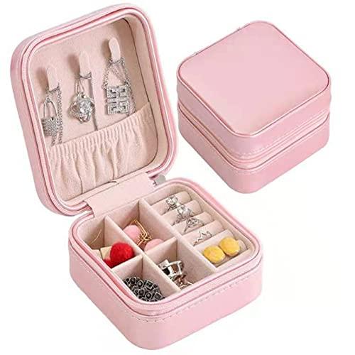 SONG Caja de Almacenamiento de joyería Caja de Almacenamiento de joyería portátil Organizador de joyería Collar, Pendientes, Anillos, Pulsera (Color : Pink)