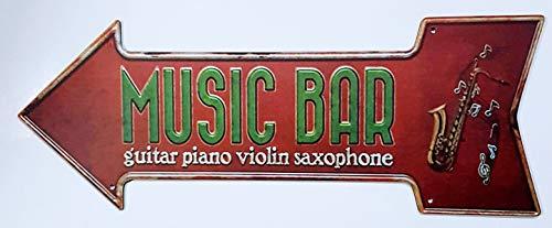 MI RINCON Cuadro Flecha Vintage Music Bar para Decorar la Pared del hogar, Tienda, Garaje, Bar, Pub