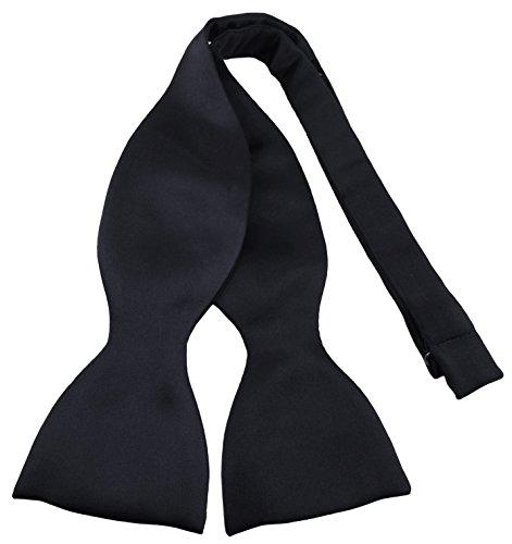 TigerTie Selbstbinder Seidenfliege in schwarz einfarbig Uni, Spitzenqualität, Querbinder 100% Seide + Aufbewahrungsbox