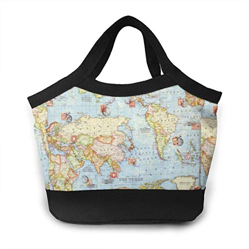 Almuerzo Bolso Lunch Box Insulated Lunch Bag for Men & Women Meal Prep Lunch Tote Boxes - Atlas World Map Blue Travel