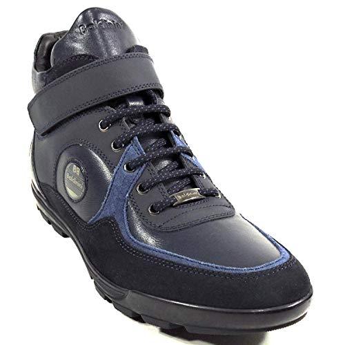 Baldinini Men's Blue Leather Fashion Sneakers 41 Size