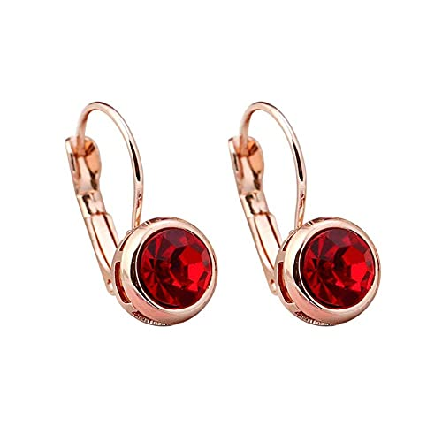 OUHUI Pendientes Redondos Elegantes Brillante Artificial Zircon Aleación Ear Stud Mujer Joyería Pendientes Hechos a Mano Pendientes para Niñas Decoraciones