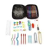 Ganchos de ganchillo multicolor Establecer ganchos de ganchillo de aluminio y acero Agujas Tejido de punto Tejido de artesanía conjunto con funda y accesorios de tejer para principiantes Crocheters co