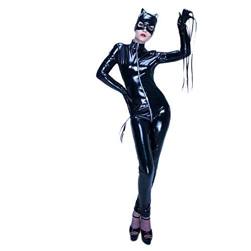 Mujer Cuero Catsuit Manga Larga Apariencia de látex Mono Catwoman Disfraz Fiesta Traje Ajustado Negro (Black,S)
