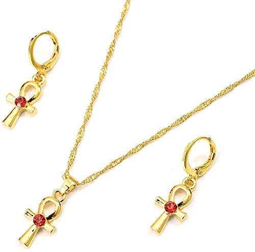 DUEJJH Co.,ltd Necklace Gold Cz Egyptian Ankh Cross Jewelry Set Women Charms Jewelry Girls Egypt Hieroglyphics Crux Ansata Pendant Necklace Earrings Gifts