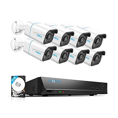 Reolink 4K Kit Videosorveglianza IP PoE, Intelligente Rilevamento di persone e veicoli, 16CH 3TB NVR e Otto 8MP Telecamera Esterno PoE Impermeabile, Visione Notturna, Registrazione 24/7, RLK16-810B8-A