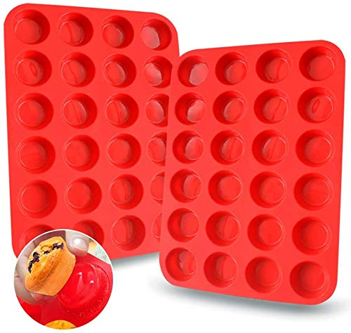 Walfos Mini Molde de Horno para Muffin Silicona - Mini 24 Cavidades Antiadherente Bandejas para Hornear Magdalenas para Muffins, Cupcake, Brownie, Budín, Juego de 2