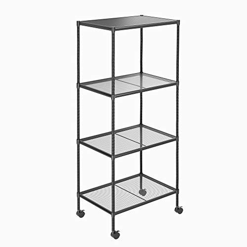 OVICAR 4-Tier Wire Storage Shelves Adjustable Shelving Units with Wheels Steel Metal Storage Rack for Kitchen Pantry Closet Laundry Durable Organizer Garage Tool Storage Shelf