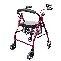 Mobiclinic, Marca Española, Modelo Alhambra, Andador para mayores, minusválidos, adultos o ancianos, de aluminio, ligero, plegable, con asiento y 4 ruedas, Color Frambuesa