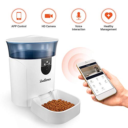 Balimo Automatic Pet Feeder Cat Feeder Auto Dog Feeder with Camera Cat Food Dispenser WiFi Timed, App Control, Programmable Timed Feeding, 2-Way Audio, Up to 4 Meals Per Day