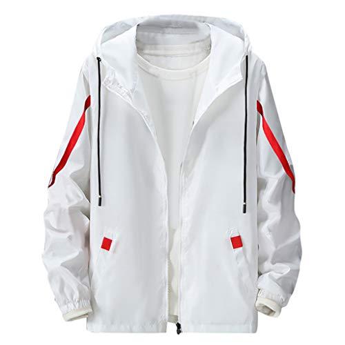 MAYOGO Jacke Herren Allwetterjacke Sport Jacke wasserdichte und Winddichte Windbreaker Light Jacket Übergangsjacke Leichte Streetwear mit Kapuze (Weiß, XL)