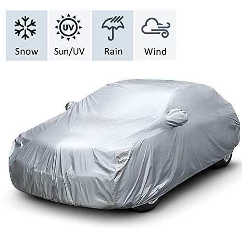 Shujin Bâche de Voiture Housse de Voiture Protection Auto Étanche Couverture Voiture Protection Contre Le Vent, Le Sable, la Poussière, la Pluie et la Neige(520 * 180 * 120cm)
