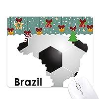 サッカーブラジルマップの形状ブラジルスローガン ゲーム用スライドゴムのマウスパッドクリスマス