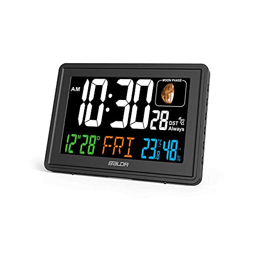 BALDR Atomic Alarm Clock in Color - Digital Clock with Large Display - Calendar & Moon Phase - Indoor Temperature & Humidity - Dimmable Backlight Brightness - Perfect for Bedroom or Office, Black