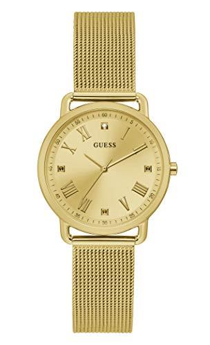 GUESS Reloj analógico de cuarzo para mujer con correa de acero inoxidable, dorado, 184 (modelo: GW0031L2)