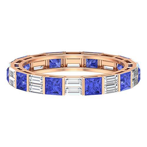 Anillo de boda de eternidad, anillo de eternidad alterna, HI-SI 1,2 quilates corte baguette anillo de diamante, anillo de tanzanita de 1,2 quilates, anillo de corte princesa, 14K Oro rosa, Size:EU 60