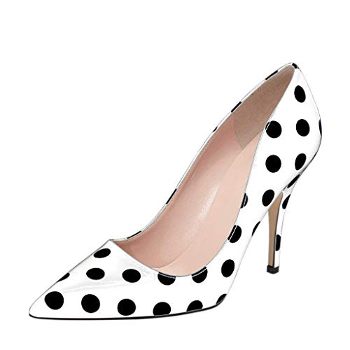 YDN Women's Chic Pointed Toe Mid Heel Pumps Polka Dots Slip on Stilettos Shoes for Party 8 (White Polka Dot)