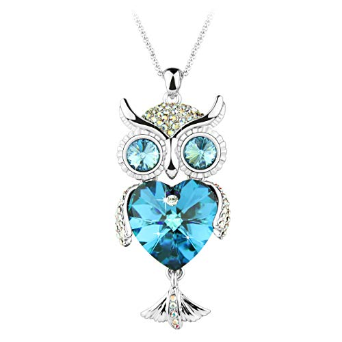 Le Premium Owl Sweater Necklace Made with Heart Shaped Genuine Austria Crystals -Bermuda Blue