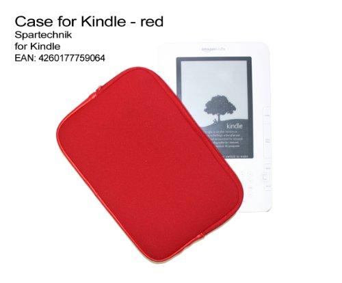 Zipper Tasche Kindle mit Reissverschluss -rot. Neopren Case für E-Book Reader Kindle Kindle 2 Kindle 3G + Wi-Fi - preiswerte und sichere Tasche für elektronische Buch von AMAZON, Farbe rot