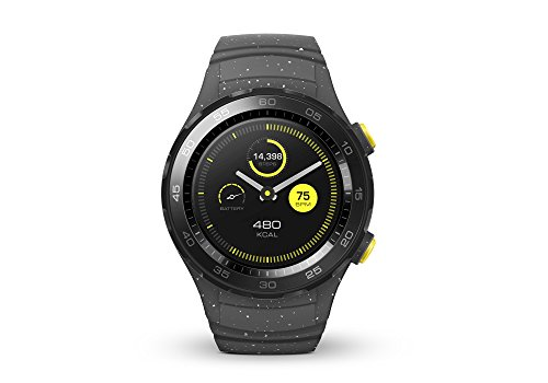 HUAWEI WATCH 2 (Bluetooth) Smartwatch mit grauem Sportarmband (NFC, Bluetooth, WLAN, Android...