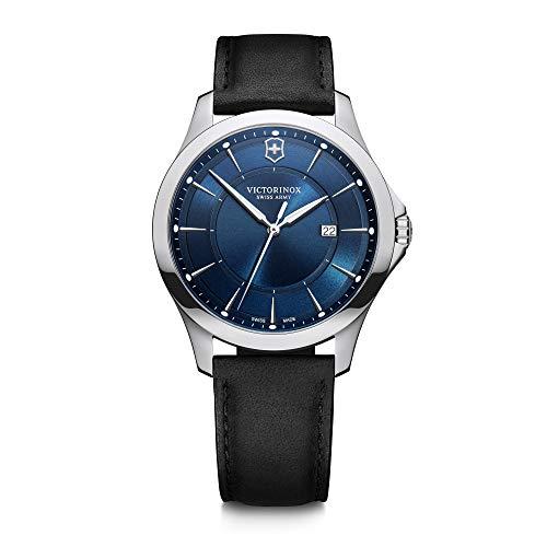 Victorinox Alliance Ø 40, Esfera azul, caja de acero inoxidable de plata, correa de cuero negro para hombres 241906