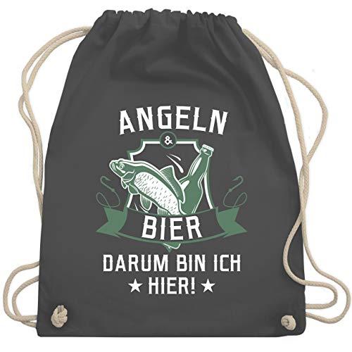 Shirtracer Angeln - Angeln und Bier - Unisize - Dunkelgrau - adventskalender angeln - WM110 - Turnbeutel und Stoffbeutel aus Baumwolle