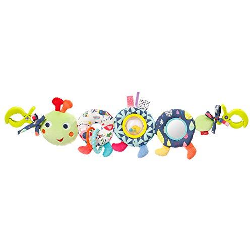 Fehn 055344 Barnvagnskedja larv färg vänner – mobilkedja med söt bandfigur för flexibel upphängning – för spädbarn och småbarn från 0+ månader – storlek: 50 cm