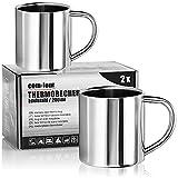 com-four® Taza de café de acero inoxidable - 180 ml - Taza de café - Taza termo-bebedora hecha de acero inoxidable - Taza con aislamiento de doble pared - SIN BPA (180ml)
